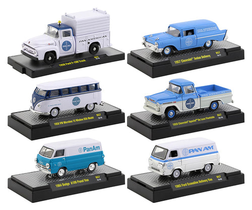 M2 Machines 1:64 Auto Thentics PAN AM set of 6