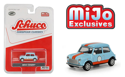 Schuco 1:64 Mini Cooper (Light blue with orange stripes) Mijo Exclusive