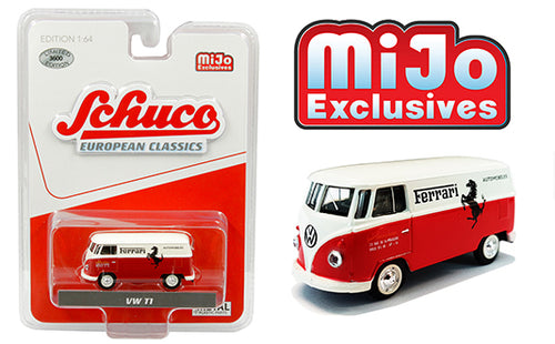 Schuco 1:64 VOLKSWAGEN T1 PANEL BUS FERRARI AUTOMOBILES RED & WHITE  Mijo Exclusive