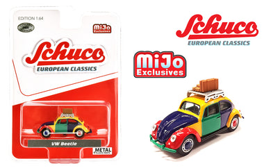 Schuco 1:64 Mijo Exclusives Volkswagen Beetle Kafer Harlekin With Roof Rack & Luggage Limited Edition 2,400 Pcs