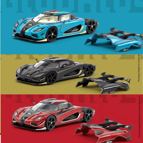 Bundle 3x Tarmac Works 1:64 Koenigsegg Agera RS Blue/Black/Chrome Red