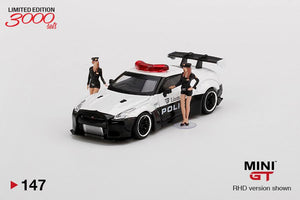 Mini GT 1:64 Nissan GTR R-35 LBW Type 1 Rear Wing Version 1 Police With 2 Figures Limited 3,000 pcs