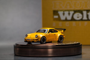 PGM 1:64 Porsche 911 964 RWB Yellow diecast with Figure
