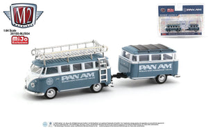 "M2 Machines 1:64 Auto Trailer Mijo Exclusive Volkswagen VW Bus Deluxe With Trailer "" PAM AM "" Limited 3,000 Pcs"