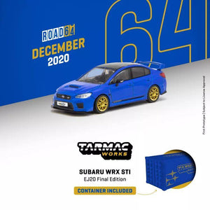 (Pre order) Tarmac Works 1:64 Subaru WRX STI EJ20 Final Edition (S208) Blue with Container