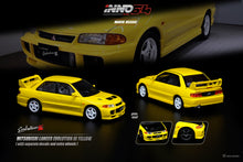 Load image into Gallery viewer, INNO 1/64MITSUBISHI LANCER EVOLUTION III 1995 Yellow Whith Separate bonnet carbon decals and Extra wheels