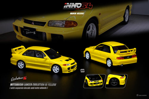 (Pre Order) INNO 1/64MITSUBISHI LANCER EVOLUTION III 1995 Yellow Whith Separate bonnet carbon decals and Extra wheels