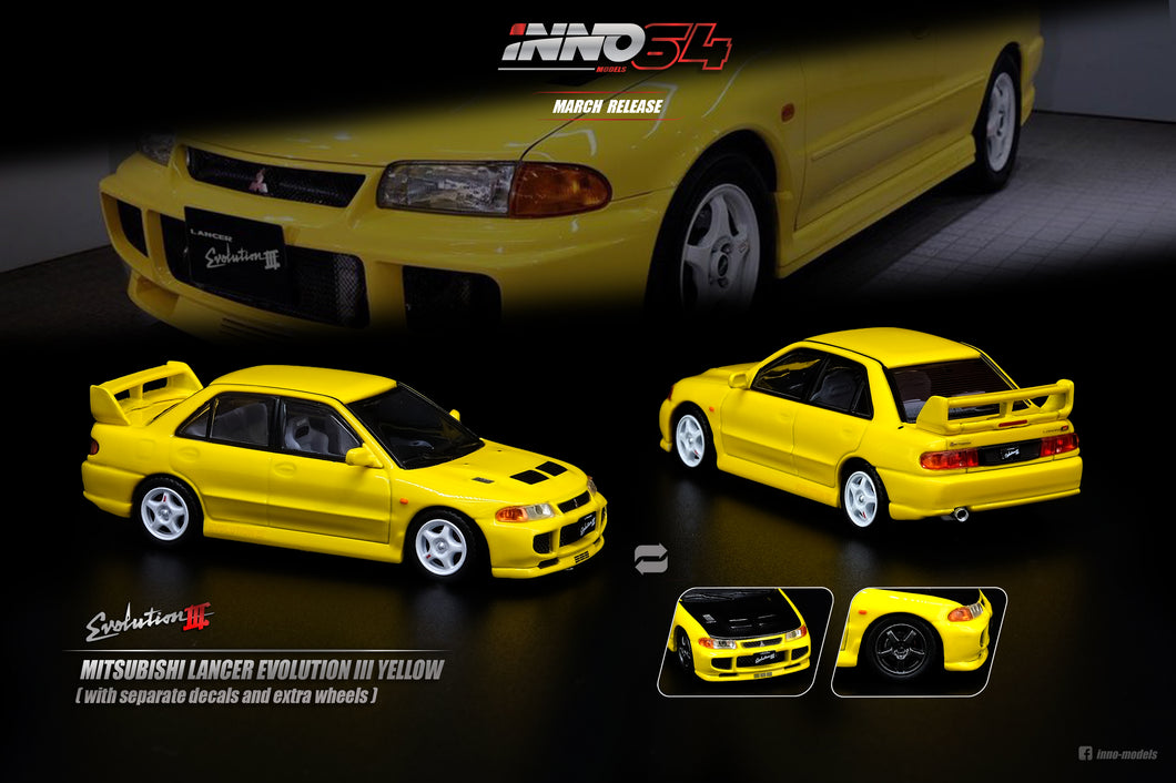 INNO 1/64MITSUBISHI LANCER EVOLUTION III 1995 Yellow Whith Separate bonnet carbon decals and Extra wheels
