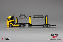 Load image into Gallery viewer, (Pre Order) MiniGT 1/64 Mercedes Benz Actros with Trailer Black/Yellow