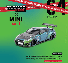 Load image into Gallery viewer, (Pre Order) MiniGT X Tarmac 1/64 LB★WORKS Nissan GT-R R35 Type 2 Rear Wing Version 3 LHD Special Magic Green Color Limited Edition