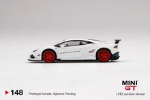 Load image into Gallery viewer, (Pre Order) MiniGT 1/64 LB★WORKS Lamborghini Huracán Version 1  White w/ Red Stripe