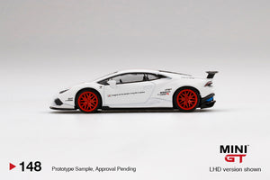 (Pre Order) MiniGT 1/64 LB★WORKS Lamborghini Huracán Version 1  White w/ Red Stripe