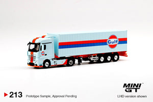 (Pre Order) MiniGT 1/64 GULF Mercedes Benz Actros 40' Dry Container Limited Edition