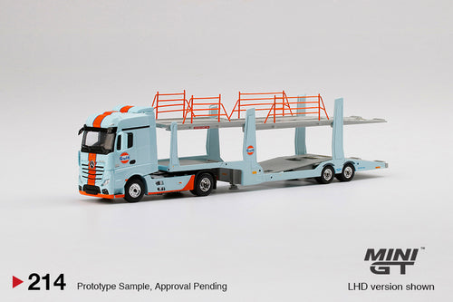 (Pre Order) MiniGT 1/64 GULF Mercedes-Benz Actros w/ car carrier trailer