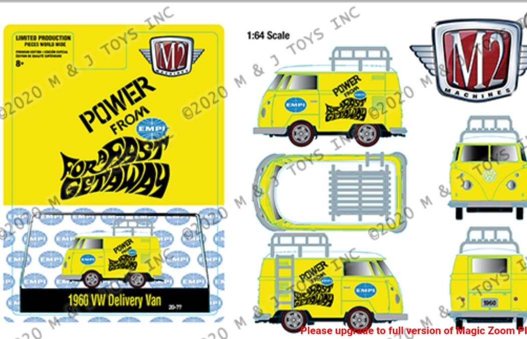 M2 Machines 1:64 Hobby Exclusive 1960 Volkswagen Delivery Van Custom Short Wheelbase EMPI Livery Limited Edition