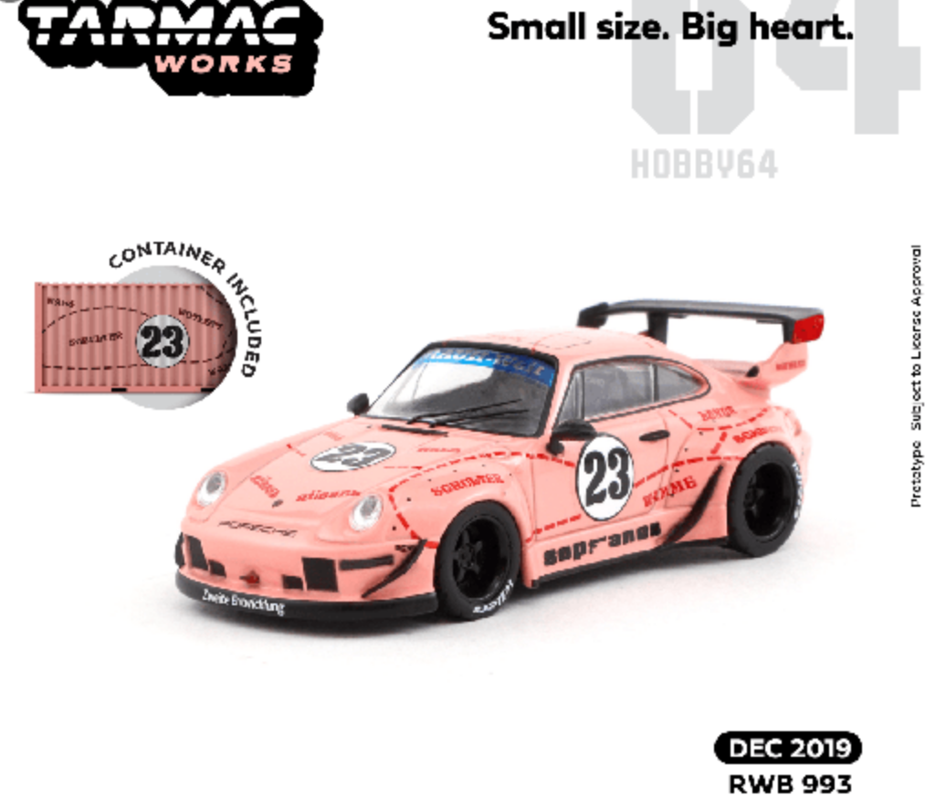 Tarmac Works 1:64 Porsche RWB 993 Sopranos #23 (Pink) with Container