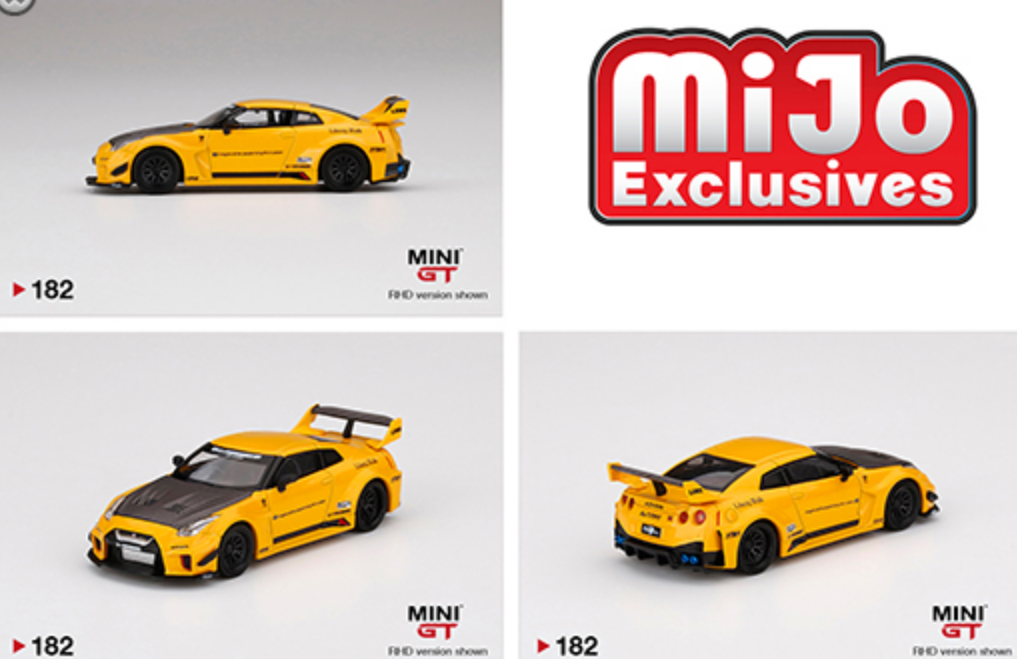 (Pre Order) MiniGT 1:64 LB Silhouette Works GT Nissan 35 GT-R Version 1 Yellow USA Mijo Exclusive