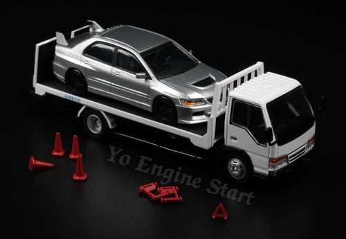 Y.E.S. 1/64 Isuzu Flatbed Tow Truck with accessories