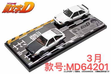 (Pre Order) Hi-Story 1/64 Toyota Initial D Corolla Sprinter Trueno and 2 door GT-Apex  with Diorama