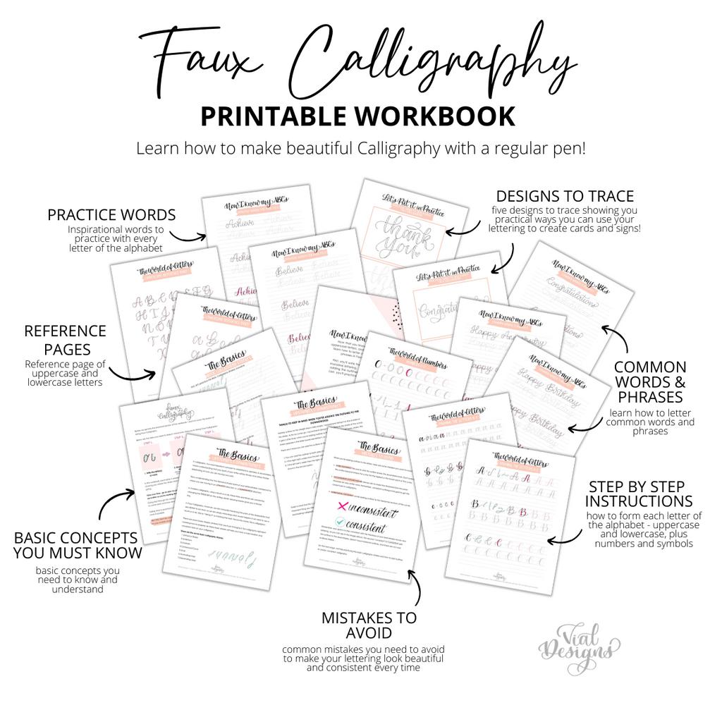 Learn how to create calligraphy using a regular pen! Faux Calligraphy Workbook for beginners  |INSTANT DOWNLOAD