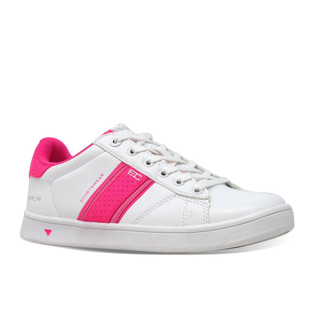 Enrico Coveri Berlin Pvc Pu Glitter Lycra - White Pink Lace up Sneakers Shoes