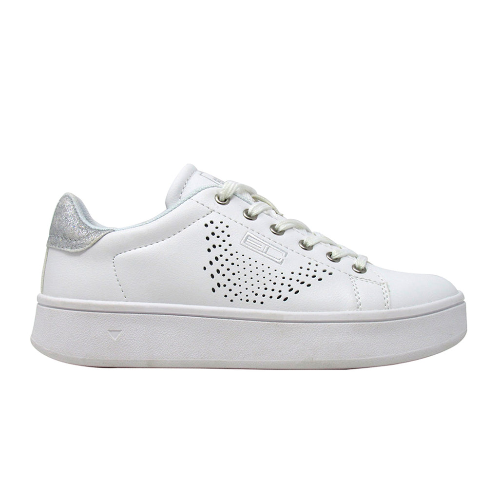 Enrico Coveri Keyla Nappa Pu Glitter - White Perforated sneakers Shoes