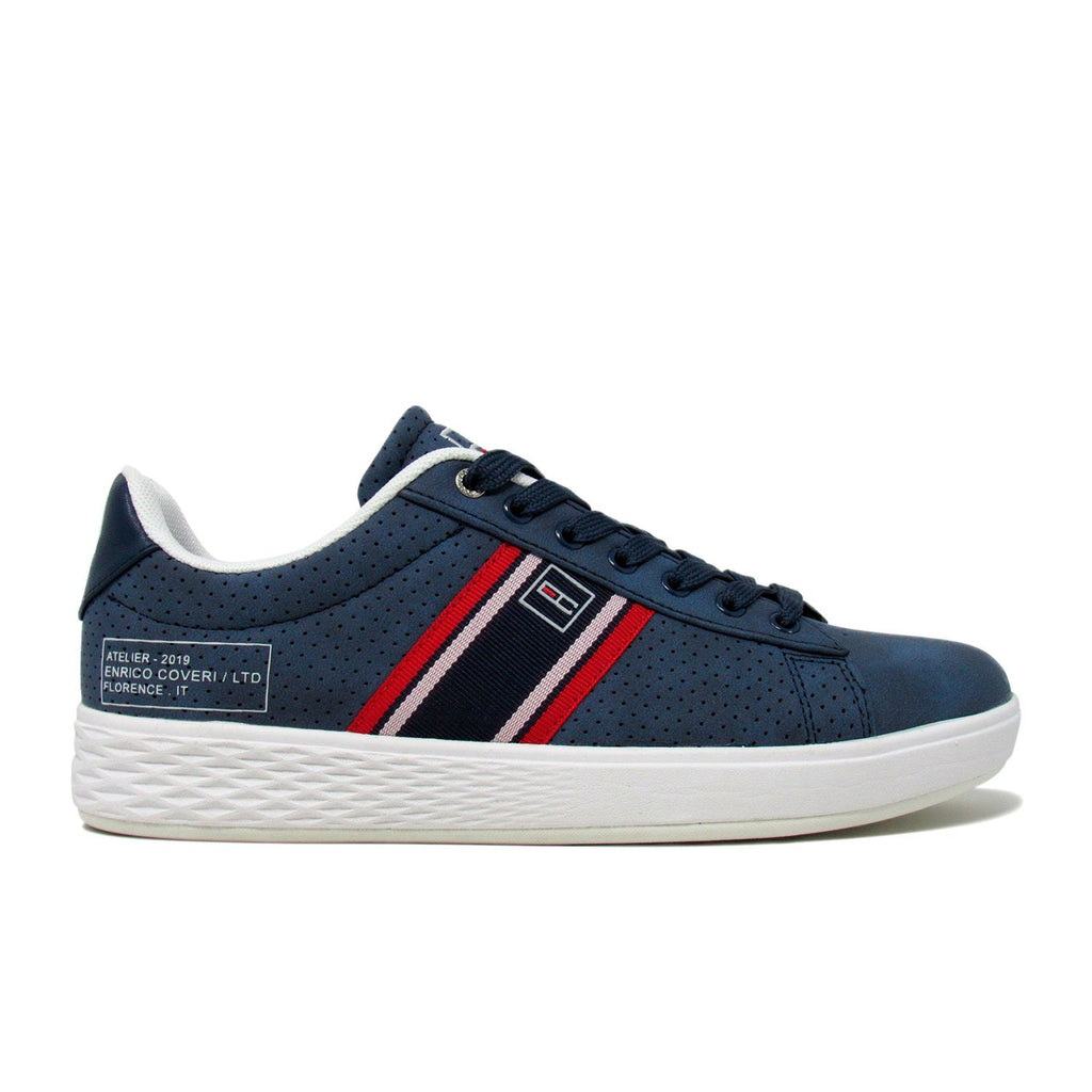 Enrico Coveri Men White BERLIN NBK Low Top Classic Casual Sneakers Shoes Off Grey Navy Blue