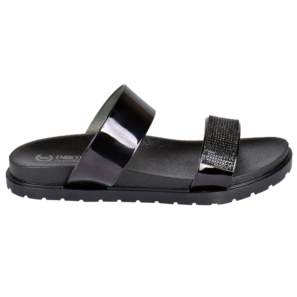 Enrico Coveri Brite Glitter - 2 Band Women Slide Sandals