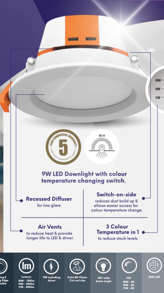 Apollo Led Downlight Tri Color Temperature Changing Switch