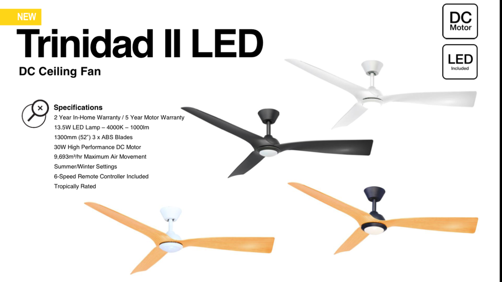 Dc Trinidad Ceiling Fan With 13 5w Led Light Black White Timber