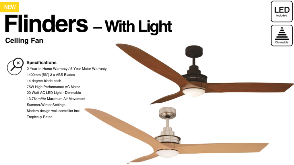 Flinders Ceiling Fan With 20w Led Dimmable Light White Alder Timber Maple