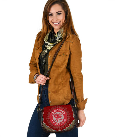 HEROINES OF JERICHO Black Canvas Leather Trim Saddle Bag
