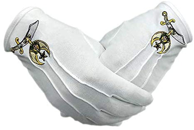 Shriner Symbol Hand Embroidered Cotton Masonic White Gloves