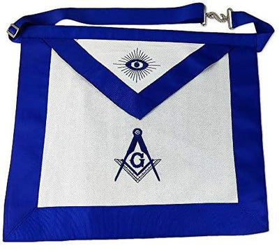 Masonic Master Mason Apron-Blue Lodge White Cloth with Embroidery