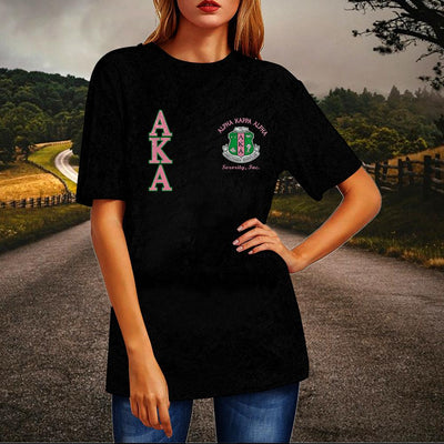 Alpha Kappa Alpha Crew Neck Velvet Top Short Sleeve T-Shirt
