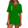 CHI ETA PHI HOLLOW OUT V-NECK T SHIRT 5520201