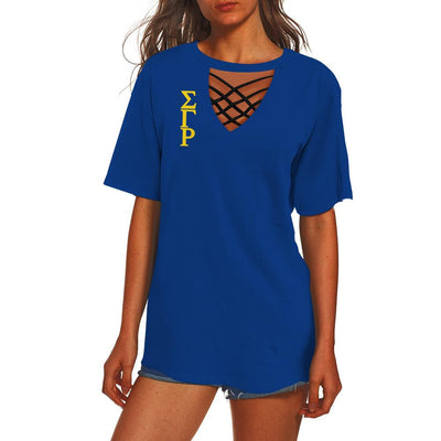 SIGMA GAMMA RHO HOLLOW OUT V-NECK T SHIRT