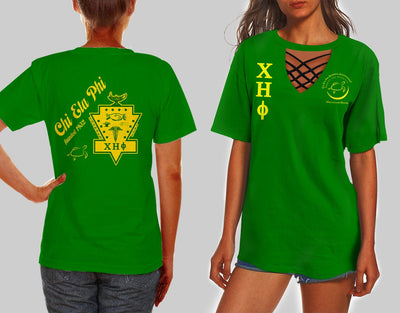 CHI ETA PHI HOLLOW OUT V-NECK T SHIRT 5520202