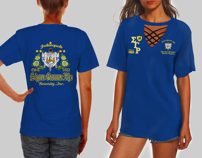SIGMA GAMMA RHO HOLLOW OUT V-NECK T SHIRT 452020