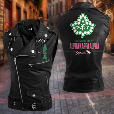 Alpha Kappa Alpha Leather Punk Zipper Sleeveless Vests Jacket 31720201