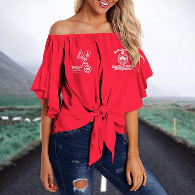 DELTA SIGMA THETA TIE KNOT OFF SHOULDER SHIRT 3