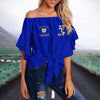 SIGMA GAMMA RHO TIE KNOT OFF SHOULDER SHIRT