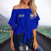 SIGMA GAMMA RHO TIE KNOT OFF SHOULDER SHIRT 3