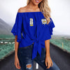 SIGMA GAMMA RHO TIE KNOT OFF SHOULDER SHIRT 4