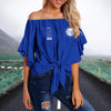 ZETA PHI BETA TIE KNOT OFF SHOULDER SHIRT 4
