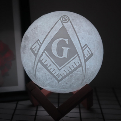 Freemason Logo 3D Print Lamp Moon Touch Moon Light Rechargeable Bedroom LED Nightlight Home Decor