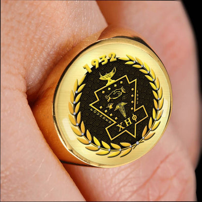 Chi Eta Phi 18K Gold Finish Signet Ring