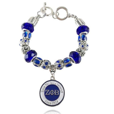 Handmade ZETA PHI BETA Sorority custom Charm Beaded Bracelet Jewelry