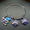 Zeta Phi Beta Love heart charms Bangle Jewelry Wire Bracelet Silver Tone