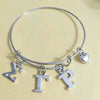 Sigma Gamma Rho Letter Charms Love Bangle Jewelry Wire Bracelet Silver
